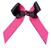 Victory Bows Two Colour Grosgrain Hair Bow- The Juliet Black and Hot Pink- Made in the USA Pony Tail Band