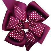 Victory Bows Large Print Four Loop Bow with Mini Flower- The Monica Maroon Swiss Dot- Made in the USA French Clip