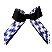 Victory Bows Chevron Grosgrain Hair Bow- The Juliet Royal Chevron and Black- Made in the USA Pony Tail Band