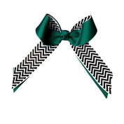 Victory Bows Chevron Grosgrain Hair Bow- The Juliet Black Chevron and Teal- Made in the USA French Clip