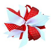 Victory Bows Spiky Pom Pom Swiss Dot Grosgrain Hair Bow- The Sandra Red Swiss Dot and White- Made in the USA Pony Tail Band