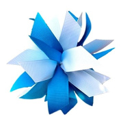 Victory Bows Spiky Pom Pom Grosgrain Hair Bow- The Sandra Turquoise and White- Made in the USA Pony Tail Band