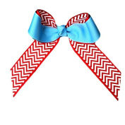 Victory Bows Chevron Grosgrain Hair Bow- The Juliet Red Chevron and Light Blue- Made in the USA Pony Tail Band
