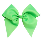 Victory Bows Large 18cm Neon Green Hair Bow made with 7.6cm Grosgrain Ribbon- The Anna-Made in USA French Clip