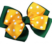 Victory Bows Polka Dot Double Quad Grosgrain Hair Bow- The Siena Marie Hunter Green and Gold- Made in the USA Pony Tail Band