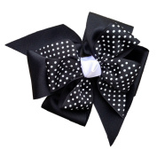 Victory Bows Large Print Four Loop Bow with Mini Flower- The Monica Black Swiss Dot- Made in the USA French Clip
