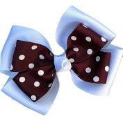 Victory Bows Polka Dot Double Quad Grosgrain Hair Bow- The Siena Marie White and Maroon- Made in the USA Pony Tail Band