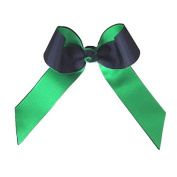 Victory Bows Two Colour Grosgrain Hair Bow- The Juliet Black and Kelly Green- Made in the USA French Clip