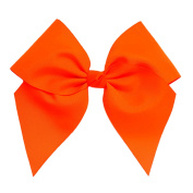 Victory Bows Large 18cm Neon Orange Hair Bow made with 7.6cm Grosgrain Ribbon- The Anna-Made in USA Pony Tail Band
