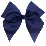 Victory Bows Large 18cm Navy Blue Hair Bow made with 7.6cm Grosgrain Ribbon- The Anna-Made in USA French Clip