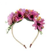flower Wreath Headband Floral Crown Garland Halo with Floral Wrist Band for Wedding Festivals Women Girl
