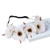 Exquisite Daisy Flower Crown Garland Halo with Adjustable Ribbon for Wedding Festivals