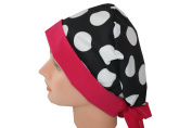 Surgical Scrub Hat Vet Nurse Chef Chemo Doctor Cap Large Black White Dots Pink Pixie