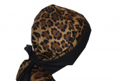 Surgical Scrub Hat Cap Chef Nurse Vet Ponytail Animal Print Leopard Cheetah Black