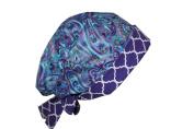 Surgical Scrub Hat Chemo Chef Cap European Pixie Blue Purple Paisley Quatrefoil