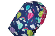 Surgical Scrub Hat Chef Chemo Nurse Dr Cap Hot Air Balloons Pink Blue Purple Green Fitted Feminine