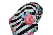 Surgical Scrub Hat Chef Chemo Nurse Dr Cap Pink Roses Stripe Fitted Feminine