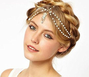 Cougar's Choice® Art Deco Goldtone Metal Head Chain with Multiple Simulated Pearls Headpiece