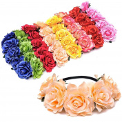8pcs Handmade Floral Crown Rose Flower Headband Hair Garland Wedding Headpiece