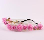 FEITONG(TM) Wedding Bridesmaid Boho Floral Flower Festival Forehead Headband Hair Garland