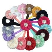 XIMA 16pcs 8.9cm Lace Flower Headbands Lace Flower for Baby Headbands,Headware