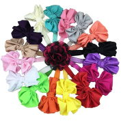 XIMA 16pcs 10cm Satin Bow Baby Headbands,Elastic Headband for Baby Children Hair Accessories