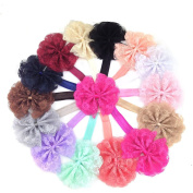 XIMA 14pcs Lace Flower Baby Headbands for Girls, Baby Hairbands