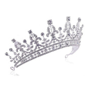 OULII Wedding Tiara Rhinestone Decorated Bride Crown Hairbands Wedding Hair Accessories