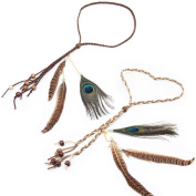 WRISTCHIE Pack of 2 Women Peacock Feather Tassels 2 Function Hair Band or Belt, Adjustable Length