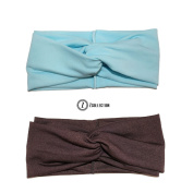 ZCollection Women Elastic Headband Fashion - Yoga - Sports - Travel. Super Comfortable. Chic Design & Quality - 15 colours ( Pack of 2 pcs ) Sky Blue / Coffee