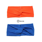 ZCollection Women Elastic Headband Fashion - Yoga - Sports - Travel. Super Comfortable. Chic Design & Quality - 15 colours ( Pack of 2 pcs ) Orange / Blue