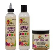 "Alikay Naturals Caribbean Coconut Milk Shampoo + Conditioner + Honey and Sage Deep Conditioner 240ml ""Set"""