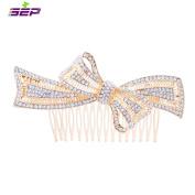SEP Gold Rhinestone Crystals Bowknot Hairpins Women Hair Combs Bridal Wedding Hair Jewellery Accessories FA5050GOL
