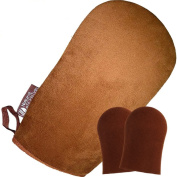 Sunless Tanning Applicator Mitt ✭ High Quality Double-Sided Soft Microfiber Glove for Streak-Free Application ✭ Large Self Tan Mitt Plus 2 BONUS Face Mitts - Satisfaction Guaranteed