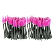 Voberry® Disposable One-Off Synthetic Fibre Eyelash Mascara Make Up Applicator Wand Brush,Pink,100pcs/set