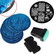 Biutee 10 Nail Plates +1 Stamper + 1 Scraper Nail Art Image Stamp Stamping Plates Manicure Template Nail Art Tools