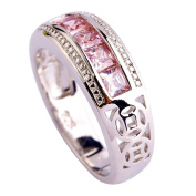 Empsoul Women's 925 Sterling Silver Natural Novelty Plated Pink Topaz Engagement Eternity Ring