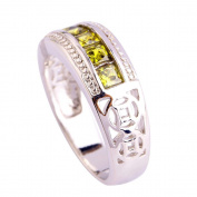 Empsoul Women's 925 Sterling Silver Natural Novelty Plated Peridot Topaz Engagement Eternity Ring