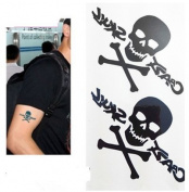 2pcs 3D Waterproof Temporary Tattoo Skull Sticker Non-toxic Body Art Tattoo