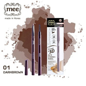 Mee Super Brow Triangle & 3D Auto Eyebrow Pencil with brush Waterproof Pencil # 01 Dark Brown