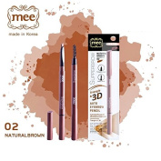 Mee Super Brow Triangle & 3D Auto Eyebrow Pencil with brush Waterproof Pencil # 02 Natural Brown