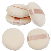 Akak Store 5 Pcs 8cm Pure Cotton Professional Round Body Face Loose Powder Puffs for Makeup or Baby Powder