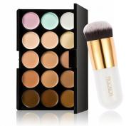 Pro 15 Colours Contour Face Cream Makeup Concealer Palette + Powder Foundation Brush