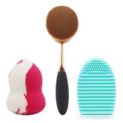 BeautyKate 2+1 Pcs/Set Rose Golden Toothbrush Oval Makeup Brush + Washing Brush Cleaner Egg and Beauty Blender Sponge Foundation