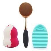 BeautyKate 2+1 Pcs/Set Rose Golden Toothbrush Oval Makeup Brush + Washing Brush Cleaner Egg and Beauty Blender Sponge Foundation