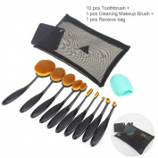 MLMSY Foundation Powder Blusher Eyebrow Eyeliner Lip Toothbrush Curve Cosmetic Makeup Brush Set Kit, 10pcs Soft Toothbrush Oval Makeup Brush Set and 1pcs Brush Washing Egg