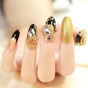 24pcs Luxe Bright Gold Glitter Metallic Chain Accessory False Nails Tips Full Cover Big Stone Diamond Black Clear Fake Nail Z147