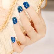 24pcs Light Blue Rhombus Paillette Big Sheets False Nails Tips Full Cover Blue Glitter Artificial Fake Nail Z146