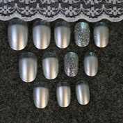 24pcs Pearl White Colour Silver Glitter Dust False Nails Tips Full Cover Artificial Fake Nail Z144