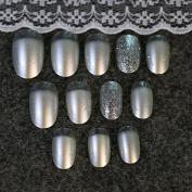 24pcs Pearl White Colour Silver Glitter Dust False Nails Tips Full Cover Artificial Fake Nail Z144